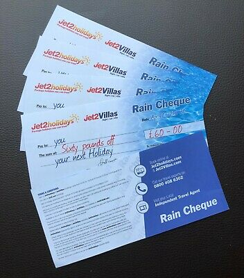 Genuine Unused Jet2 Holidays £60.00 Rain Cheque (Not A Copied Code)