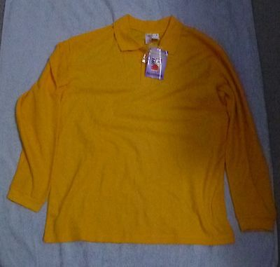 BNWT Unisex sz16 yellow l/s polo top for school, camping or play