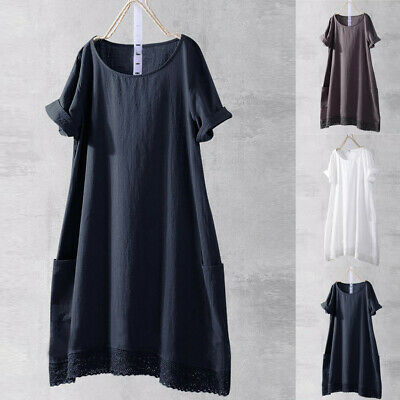 Women Cotton Linen Short Sleeve Lace Casual Long Tunic Tops Lady Summer Blouses