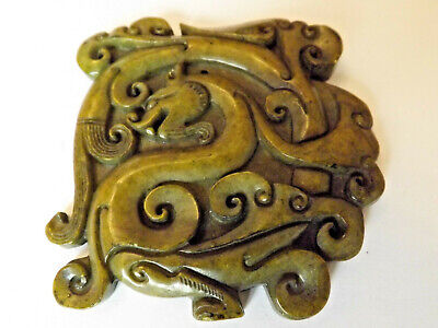 Antique Chinese  Green Jade Carved Good Luck Dragon Pendant Charm