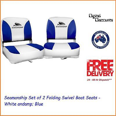 Seamanship Set of 2 Folding Swivel Boat Seats - White and Blue
