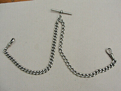 Antique English Silver DOUBLE ALBERT WATCH CHAIN. 37g