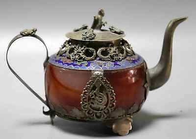 Collect Handwork Old Tibet Silver Armoured Agate Carve Delicate Tea Pot Wine Pot