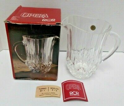 "Royal Rock Opera 24% Lead Crystal 7"" Tall Pitcher Diamond Cut Pattern NOS"