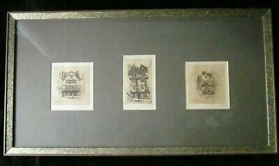 Antique S LOXTON Pencil Signed Engravings Bristol Inns Triptych Framed - Rare