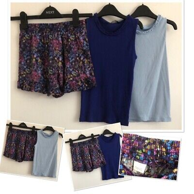 Next Girls Summer Patterned Floaty Shorts & X2 George Vest Tops Bundle 7-8 Years