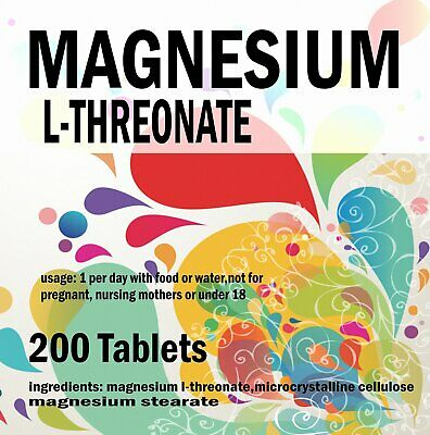 MAGNESIUM L-THREONATE  500mg Tablets  Bioavailable Form for the Brain x 200