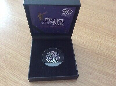 2019 Silver Proof Colour 50p Peter Pan Low COA FREEPOST