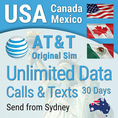 USA AT&T Sim card, Unlimited data, calls, texts, USA (incl Hawaii) Canada Mexico
