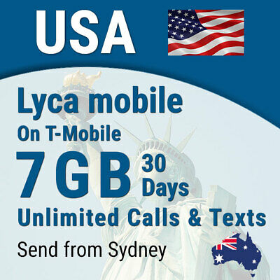 USA Lyca Sim card, 7GB, Unlimited calls + texts, USA (incl Hawaii)