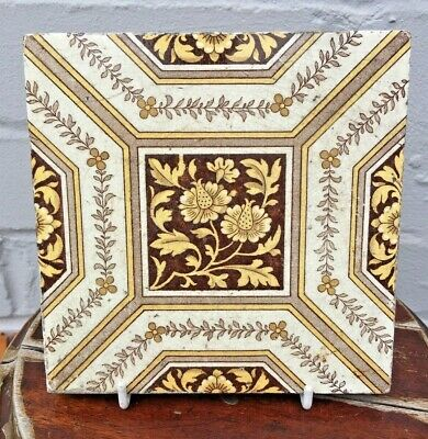 "Original Reclaimed Antique Victorian English Minton's China Works Tile 6""x6"""
