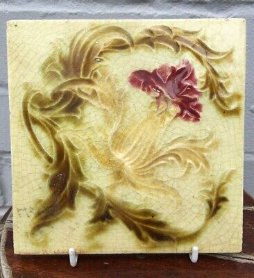 Set of 6 Original Reclaimed Antique Victorian English Floral Tile 6 x 6 Inches