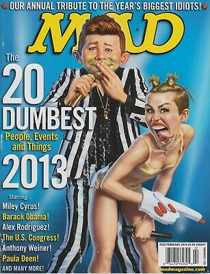 Mad Magazine #525 February 2014 Miley Cyrus The 20 Dumbest People, Events 2013