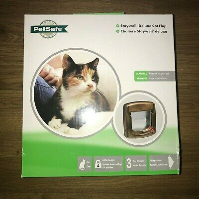 Staywell (Petsafe) Deluxe Cat Flap Brown Manual Magnetic 4 Way Locking
