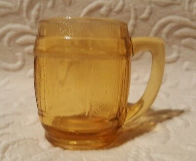 Vintage Amber Glass Mini Shot Glass Small Beer Barrel Mug Toothpick Holder