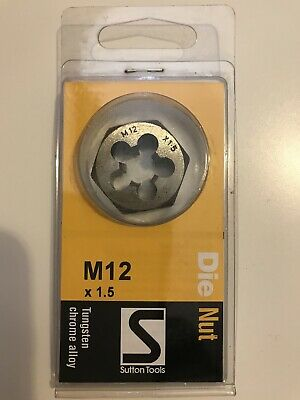 Sutton 12 mm Die Nut  M12 X 1.5 mm Metric ISO Fine Tungsten Chrome Alloy New
