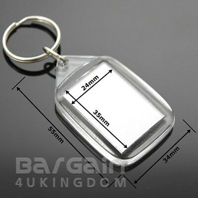 30 Quality 35x 24mm Insert Clear Blank Acrylic Photo Keyring Personalise Plastic