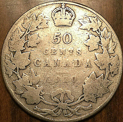 1910 Canada Silver 50 Cents Fifty Cents Coin