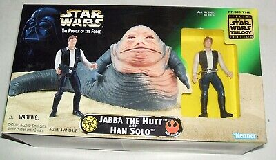 """Hasbro/Kenner Star Wars The Power of the Force """"Jabba the Hutt & Han Solo """" NIB"""