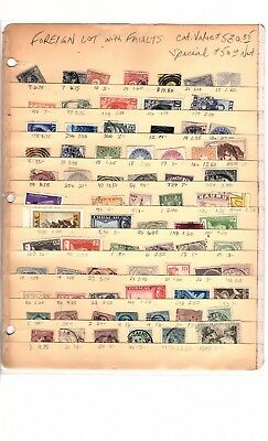 Worldwide Assortment Of 74 Cancelled Foreign Stamps Collection
