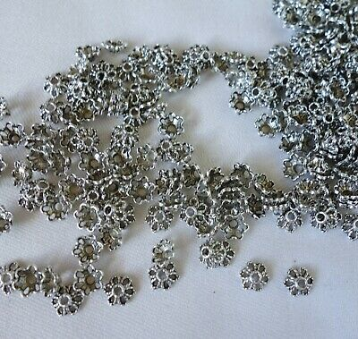 50 Antique Silver Coloured 6mm x 2mm Flower Bead Caps bc2245 Jewellery Findings