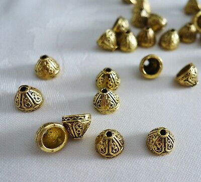 30 Antique Gold Coloured Cone Bead Caps 9mmx7mm #bc521 Jewellery Making Beading