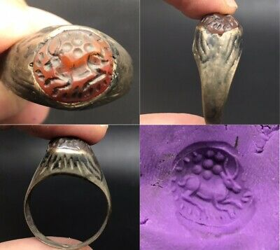 Antique rare ancient old deer intaglio stone brass old ring