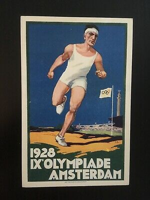 Original lithographed Amsterdam 1928 Olympic Games postcard Olympiade Netherland