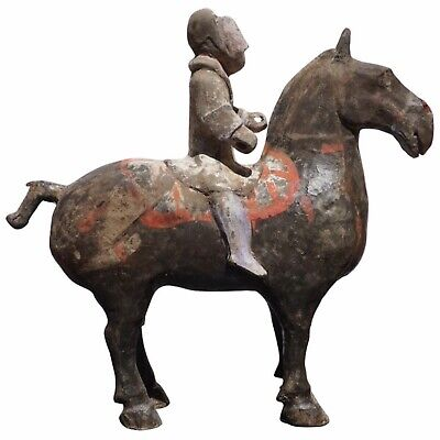 Han Dynasty Grey Pottery Horse and Rider, '206 BC-220 AD', TL Test