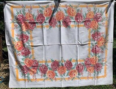 Vintage Cotton Tablecloth 40s50s PRETTY Red Orange Green Floral 50 x 60