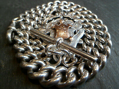 HUGE 78g Victorian 1887 Solid Silver Albert Pocket Watch Chain 9ct Gold Frt Fob