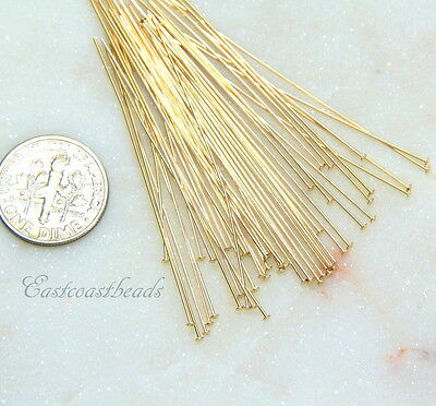 TierraCast Gold Filled Head Pins, 2 Inch, 24 Guage, Head Pins, 50 Pieces, 2909