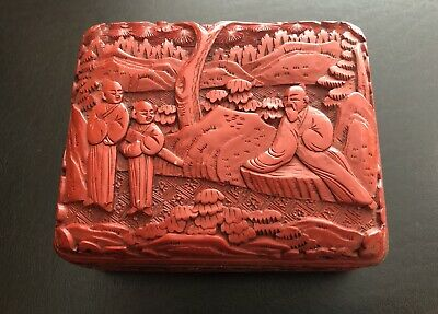 Vintage Chinese Lacquer Carved Cinnabar Box