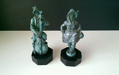 Vintage German Bavarian Man With Cello Dancing Girl Cast Iron Figures