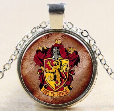 Vintage Harry Potter badge Cabochon Silver Glass Chain Pendant Necklace W159