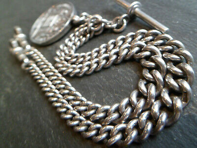 HUGE 48g Antique CHUNKY Solid Silver DOUBLE Albert Pocket Watch Chain + Fob