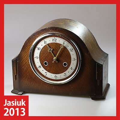 PERIVALE England Wooden Brass Mantel Shelf Table Mechanical Wind up Clock Chimes
