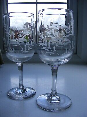 Pair of Victorian/Edwardian Fern Etched Large Wine Glasses