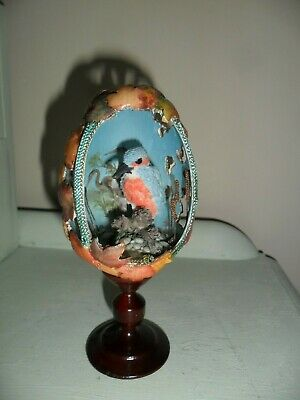 Beautiful Japanese Egg Shape Fret Work Kingfisher Ornament on Wood Stand