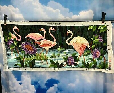 Completed Needlepoint Margot de Paris Creations France Flamingos Wall Hanging XL