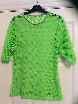NEON Green MESH TOP Fluorescent Festival Fancy Dress Party 80s chest 36 Inches