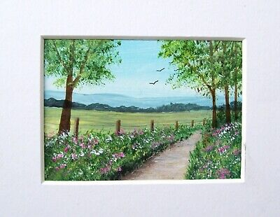 Original The Country Path 4#Signed Landscape Miniature Aceo Painting