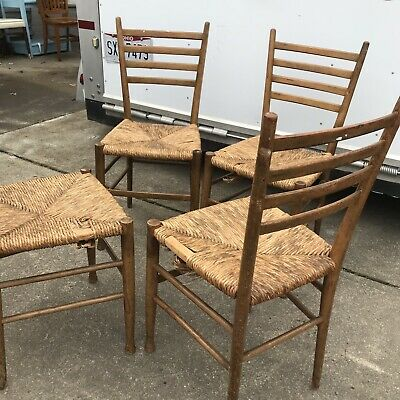 Set of 4 Vintage Italian Dining Chairs Rustic Country Signed