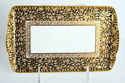 Small Rectangular Hand painted Gold Porcelain Tray Keys or Dresser very Pretty