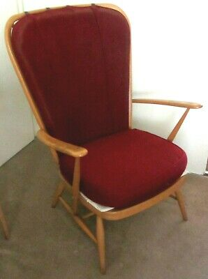 Ercol High Back Chair - Vintage Mid 20 Century. Dark Red Upolstery