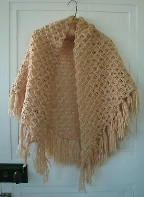 Hand crocheted knit wrap shawl, vintage style – knitted throw crochet hippy boho