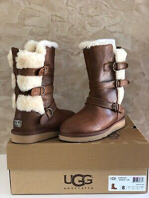 dac57c8987d UGG BECKET CHESTNUT Leather Sheepskin Buckle Women Boots Size US 8 NEW IN  BOX