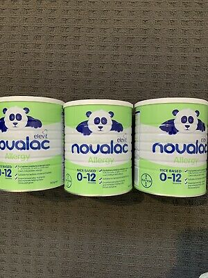3 Unopened Tins -NOVALAC ALLERGY (Rice) FORMULA 800 grams BRAND NEW 0-12 Months