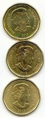 Canada 2013, 2014 & 2015 Loonies Canadian One Dollar $1 EXACT COIN SHOWN