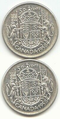 Canada 1958 & 1958 Silver 50 Cent Pieces Canadian Half Dollars 50c EXACT SET